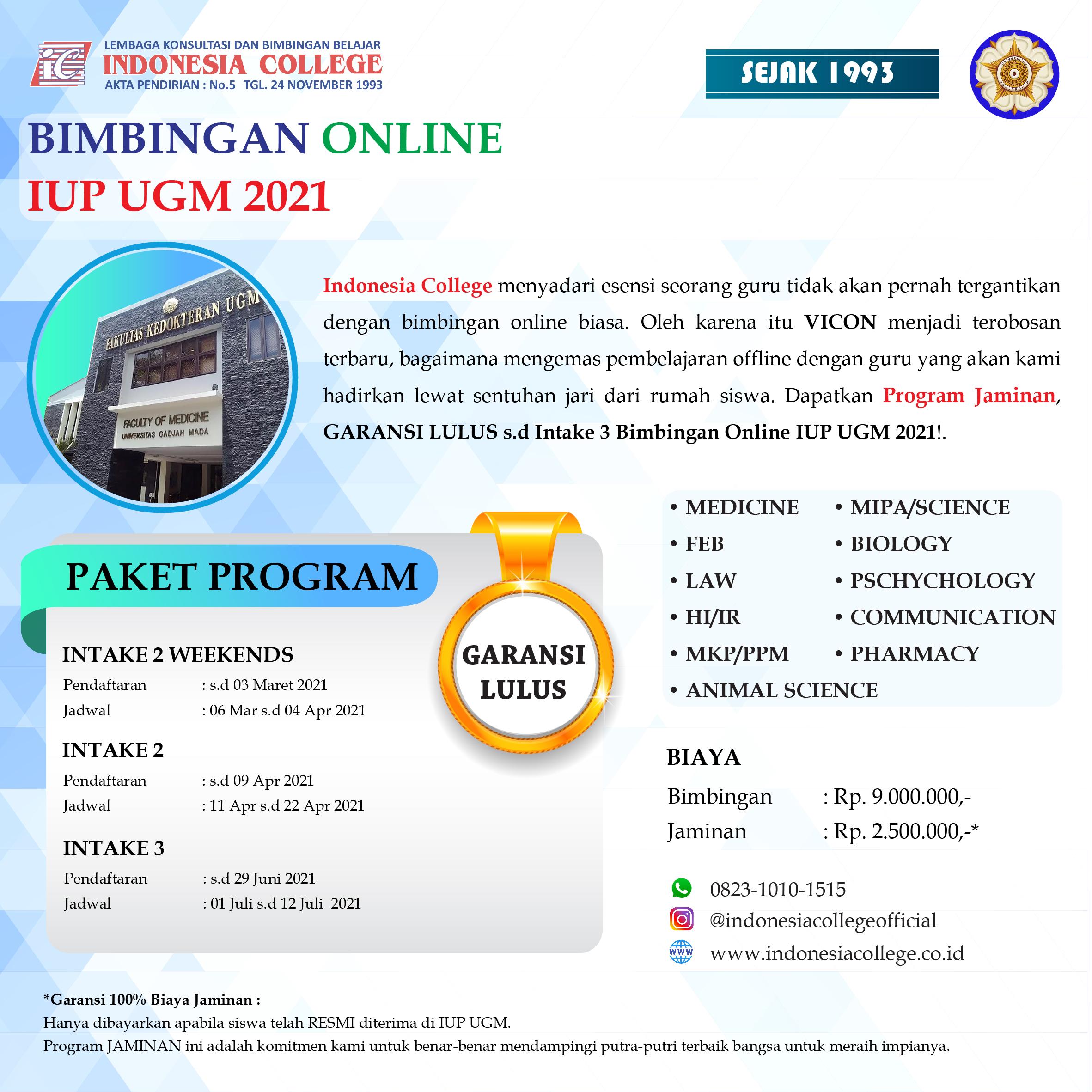 BIMBEL IUP UGM ONLINE 2021